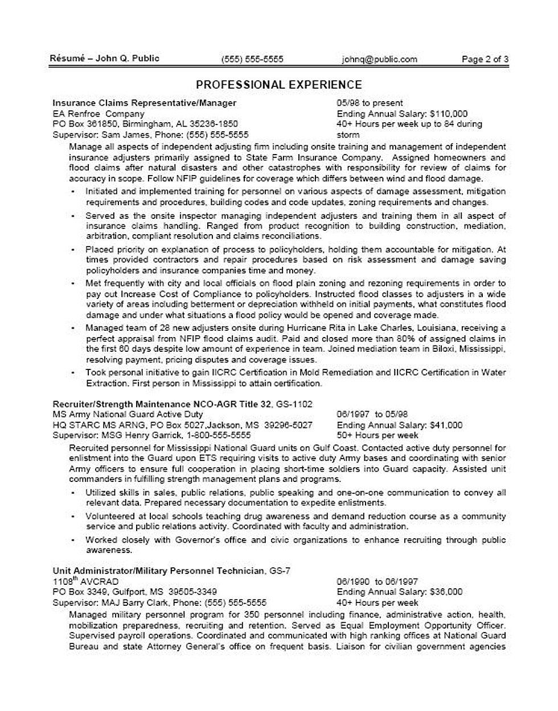 Federal Ksa Example Federal Resume Writing Service Ksa Sample