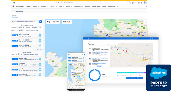 Mapadore: Salesforce Native Smart Geolocation and Scheduling Tool for Sales Optimization