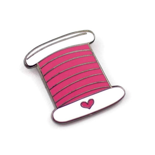 Pink Thread Enamel Pin - Benefitting Planned Parenthood