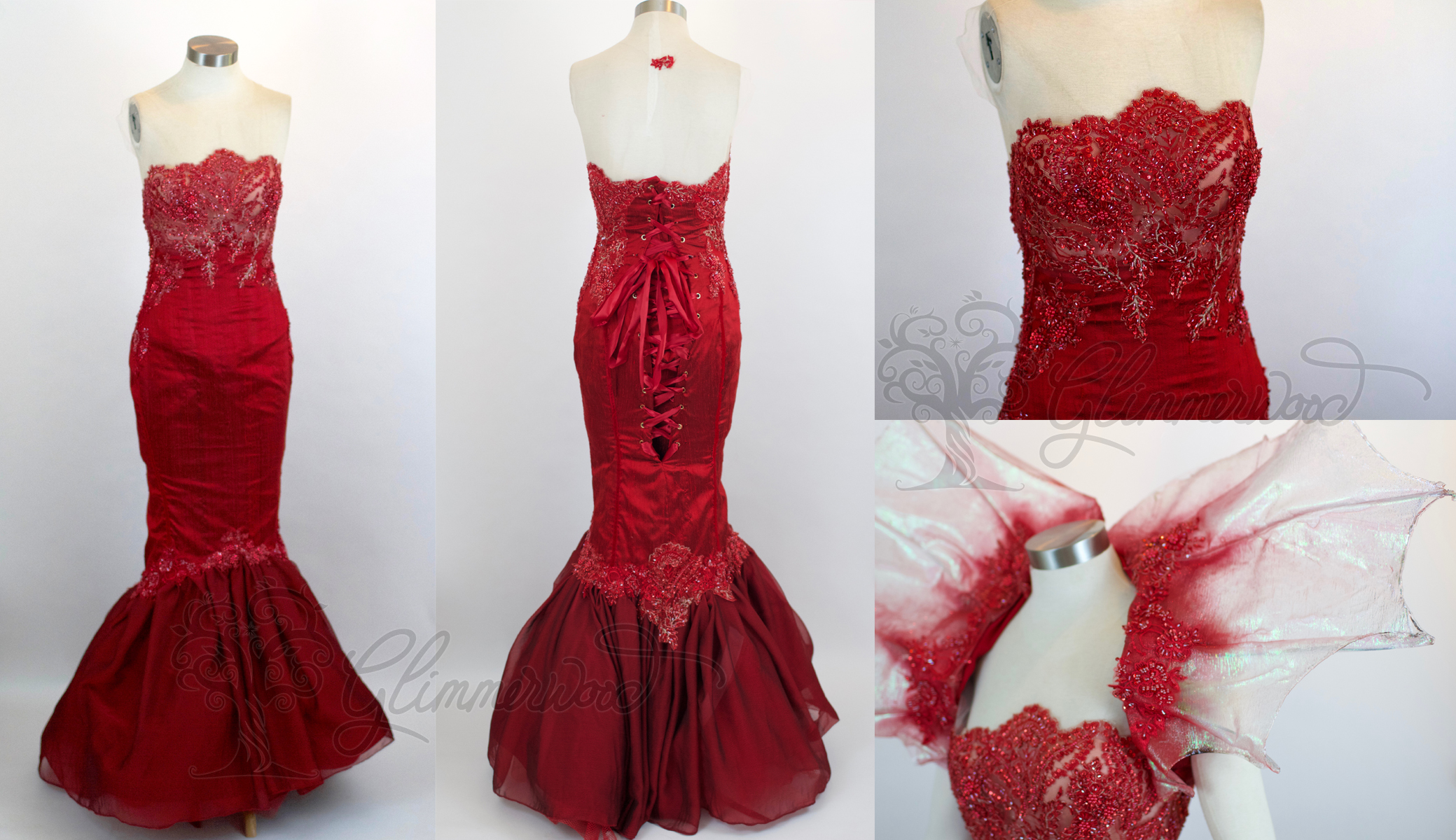Red Mermaid Gown and Collar
