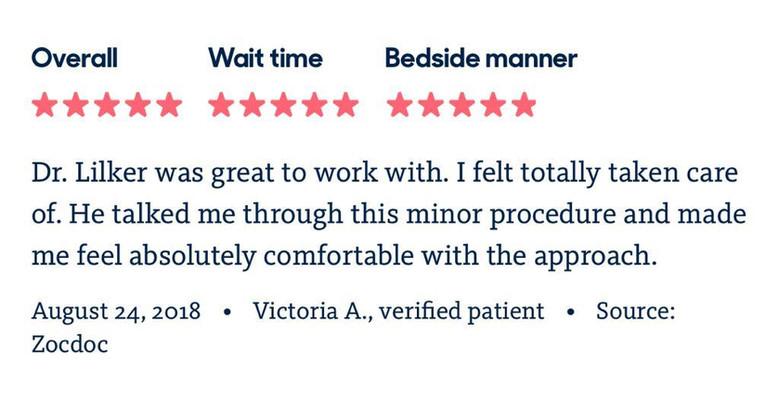 Reviews on Dr. Lilker