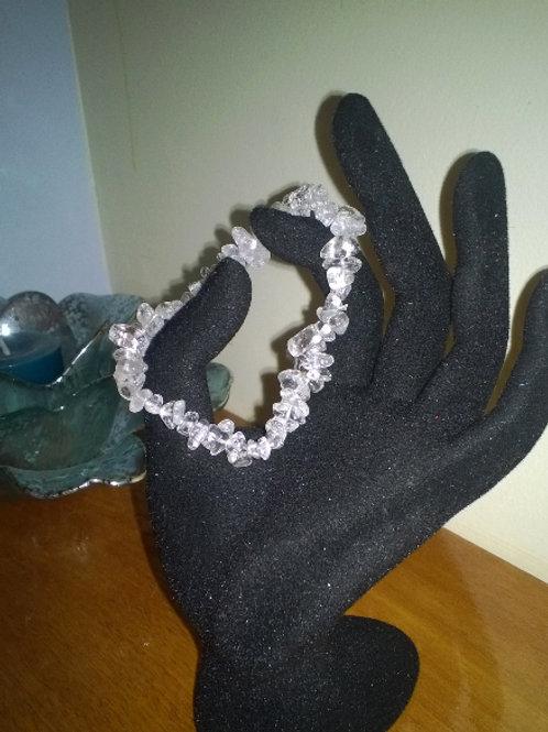 7in Crystal Quartz Gemstone Stretch bracelet