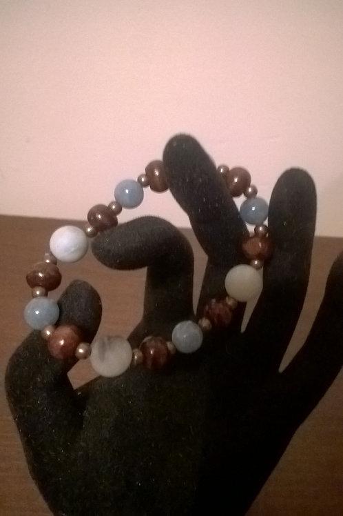 7 in stretch Amazonite & Aquamarine bracelet