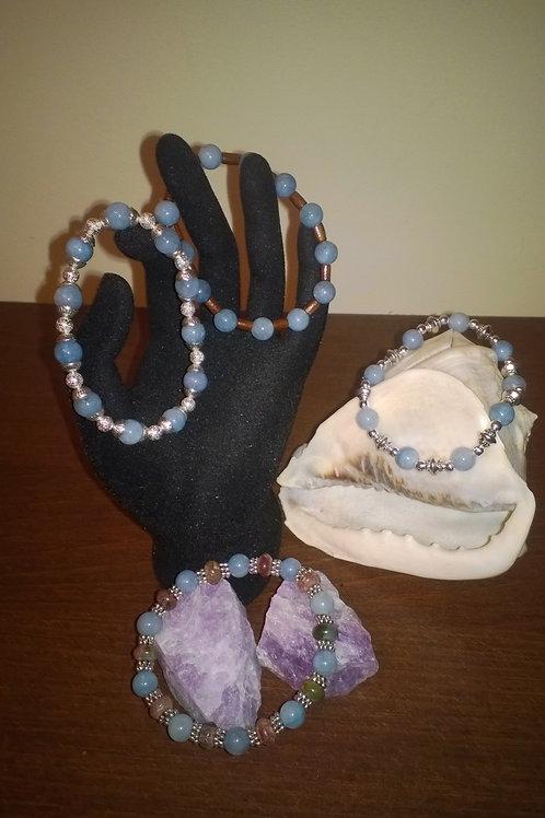 7 in stretch Aquamarine bracelets