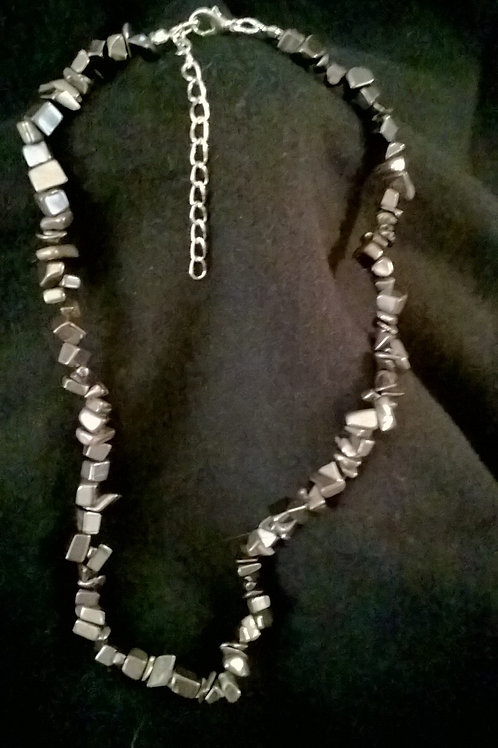 18in with 2in ext Hematite Necklace