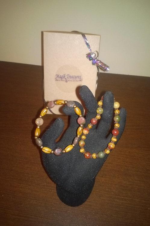7 inch stretch Picasso Jasper bracelets (cu)
