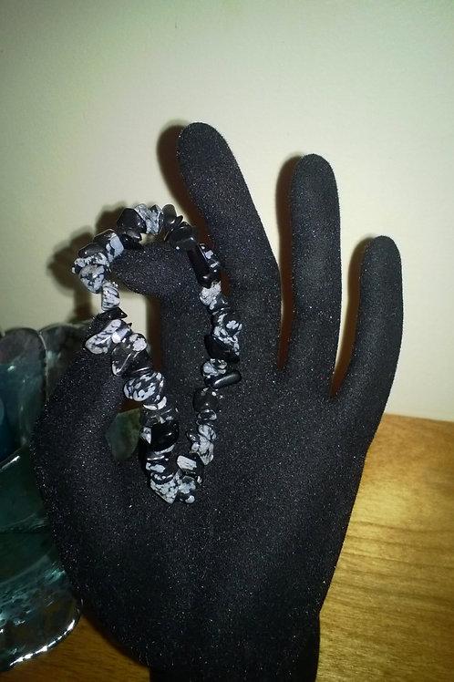 7in Snowflake Obsidian Stretch bracelet