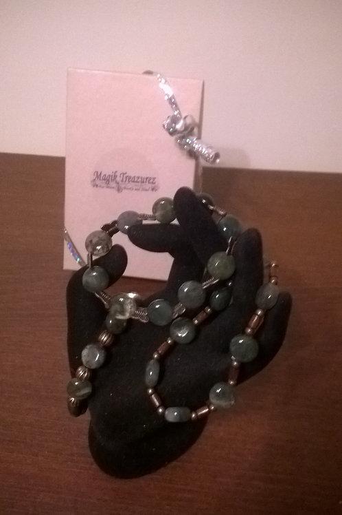 7 inch stretch Moss Agate (cu) bracelet