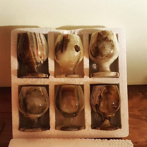 6 piece set Onyx Snifter (Shot) Glasses