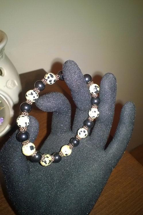 7 in stretch Dalmatian Jasper & Hematite bracelet