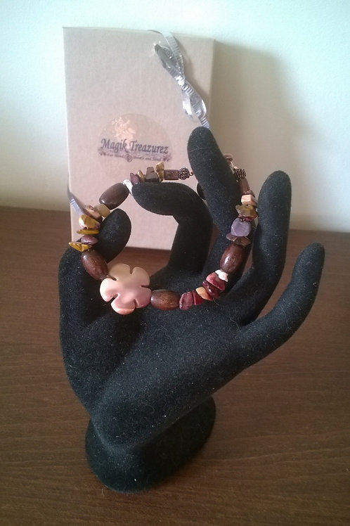 7 inch Mookaite with wooden beads healing bracelet