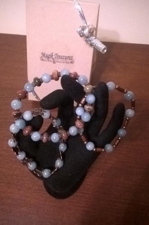 7 in. stretch Aquamarine & Copper-tone bracelets
