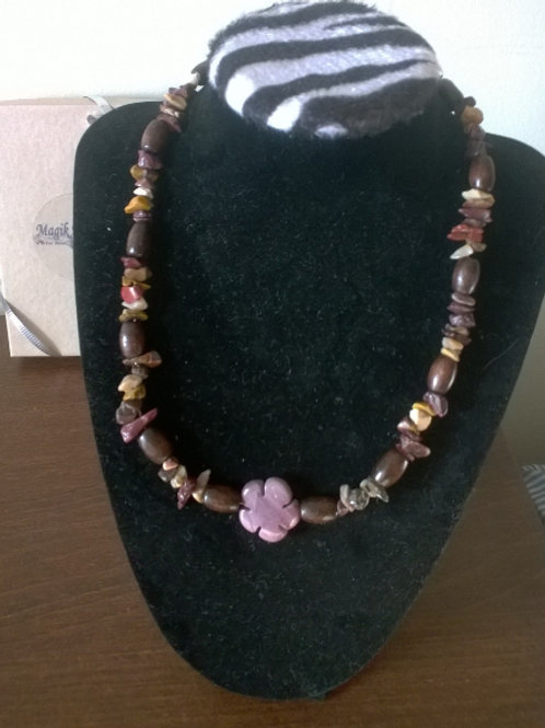 18 in Mookaite w/wooden beads healing necklace