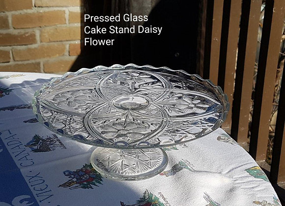 Pressed Glass Cake Stand Daisy Flower