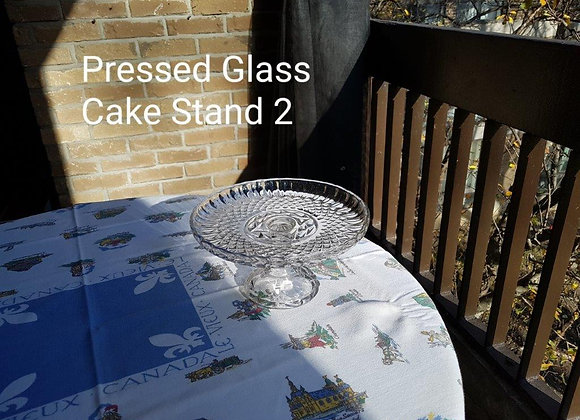 Pressed Glass Cake Stand Crown and Diamond