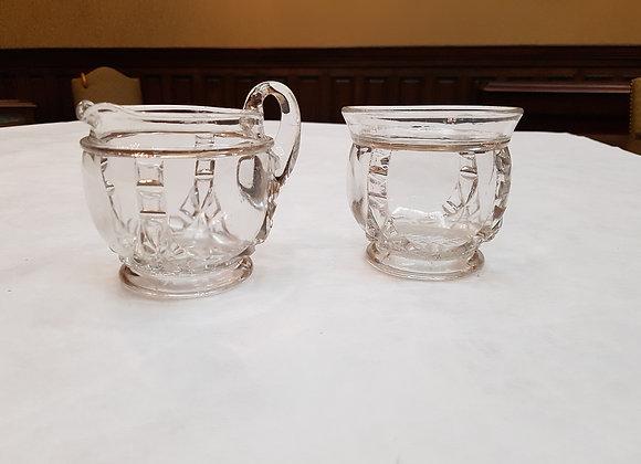 Matching Set Pressed Glass Cream and Sugar