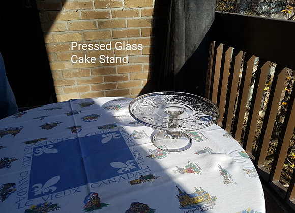 Pressed Glass Cake Stand Flower