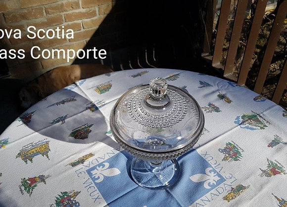 Pressed glass comporte with cover