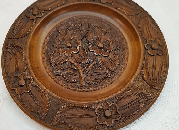Oriental Carved Wooden Plate