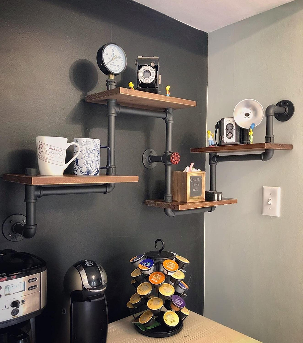 shelving, pipe shelves, rustic, industrial design
