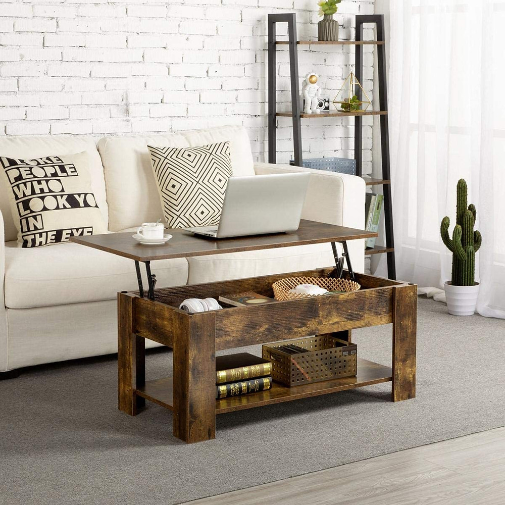 coffee table, lift top, sturdy, industrial, rustic style, work space