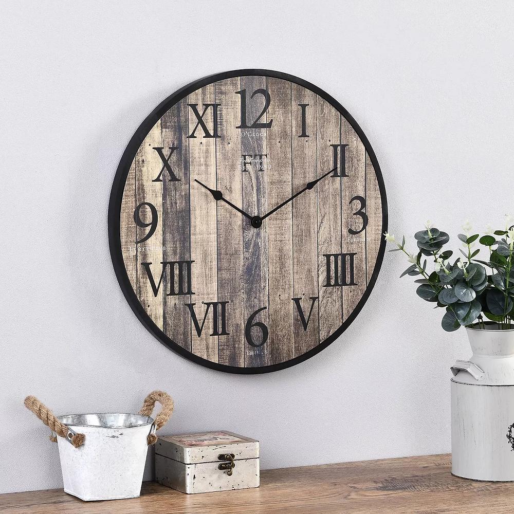 clock, rustic wood, stylish clock, interior design
