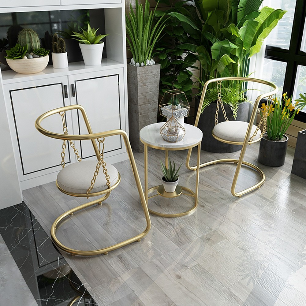 conversation area, hammock chairs, chair pair, nesting table