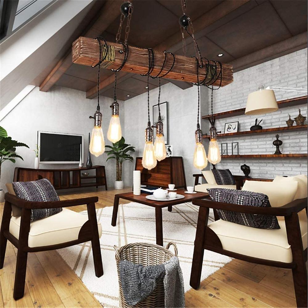 Lighting, pendant light, living room, rustic design