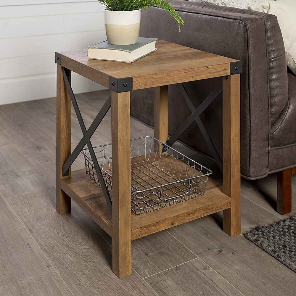 Rustic, side table, industrial style, wood, natural