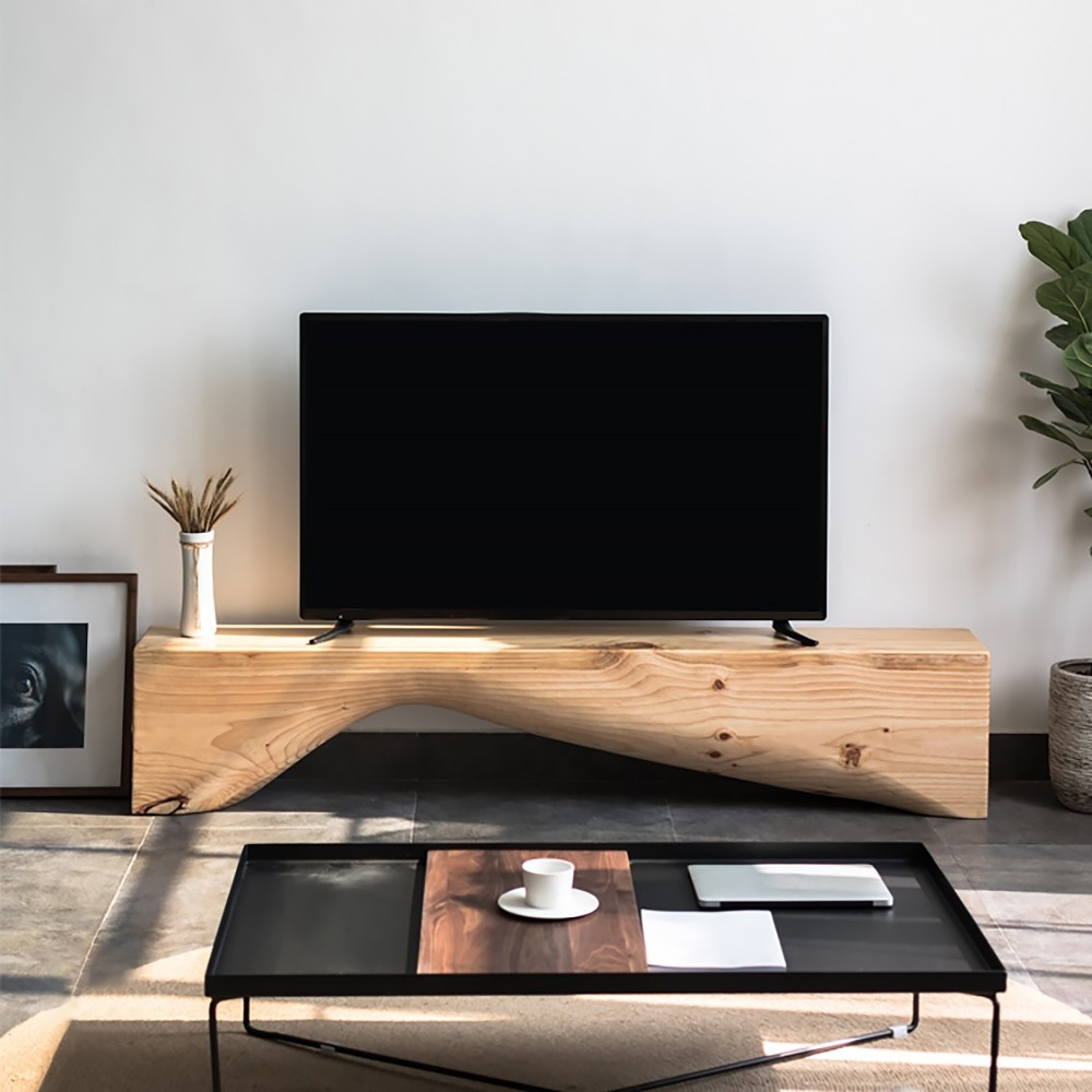 luxury tv stand, natural wood curve, natural wood, interior design