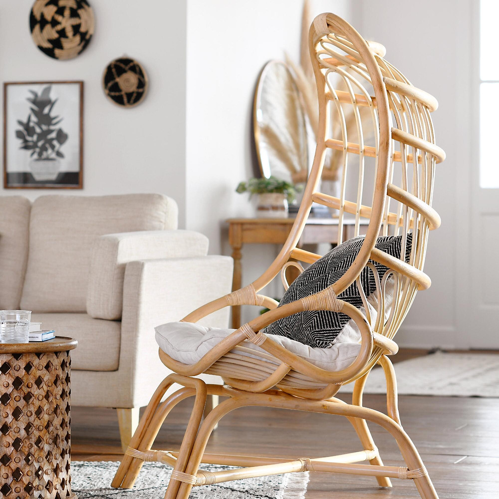 Rattan chair, bohemian style, boho furniture