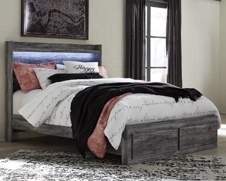 Wood bedframe, interior design, bedroom furniture, bedding