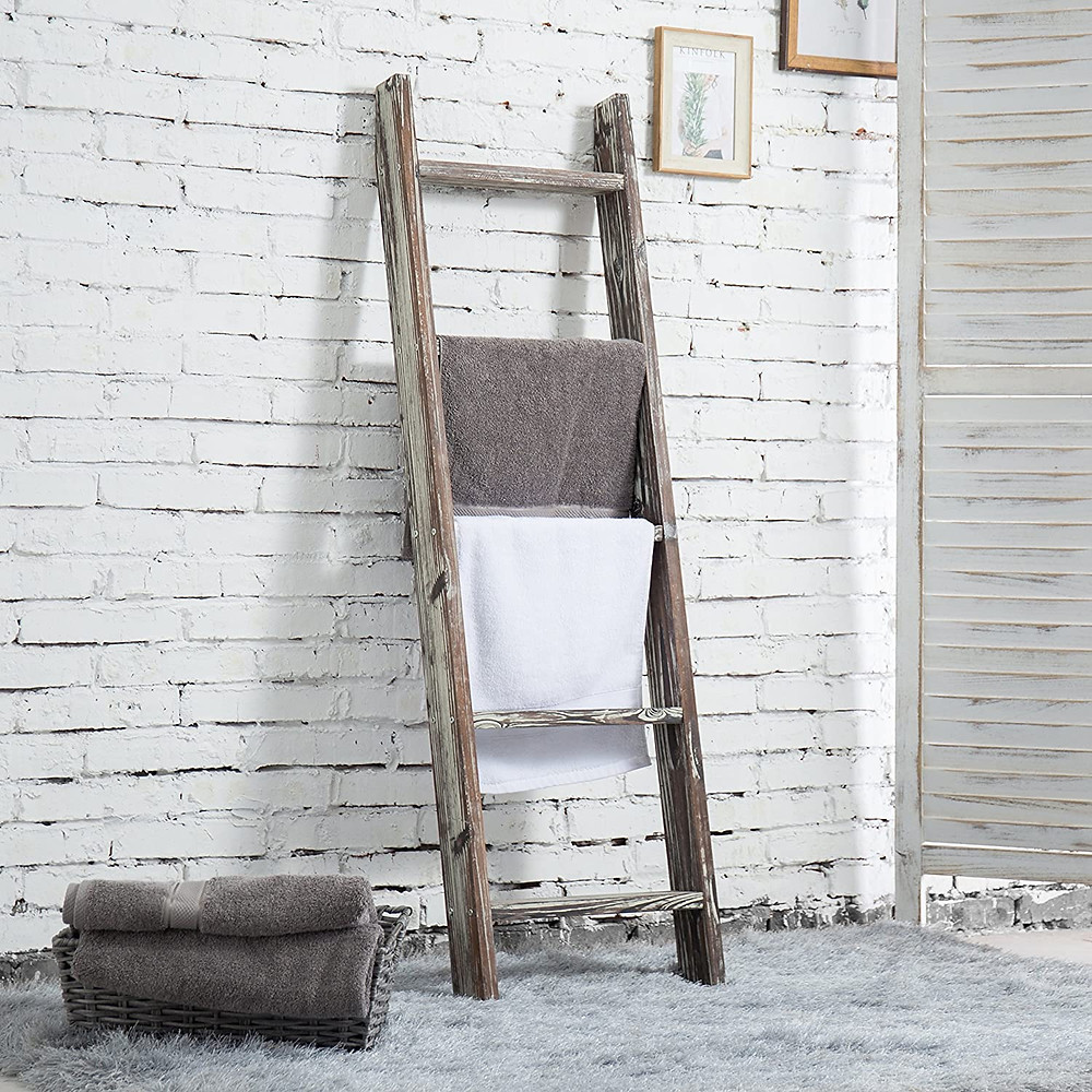 Ladder storage, rustic, farmhouse, interior design, decoration