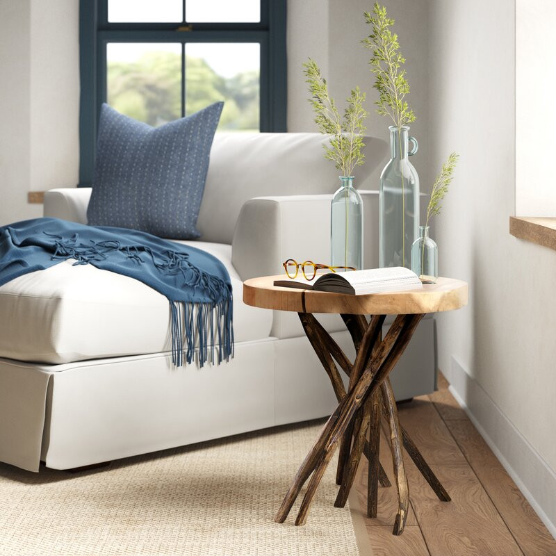 natural end table, natural wood, rustic style, farmhouse style, side table