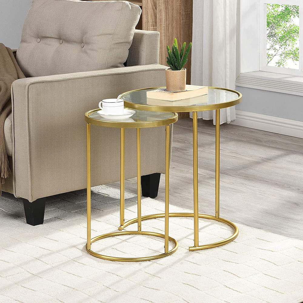 nesting table, brass furniture, side table, living room furniture