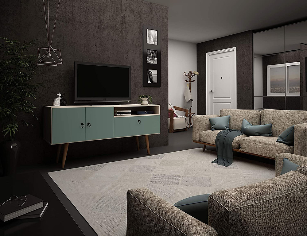 tv stand, midcentury style, living room furniture, pastel furniture