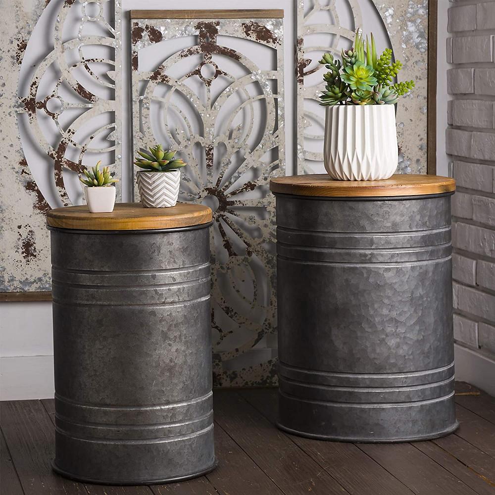 pail, galvanized stool, rustic, farmhouse, storage