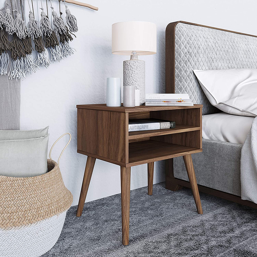 modern nightstand, nightstand, beddroom desing, walnut furniture