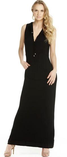 Mermaid Black Maxi Hoodie Dress