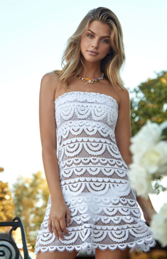 White Lace Tube Dress (Also Available in Black)