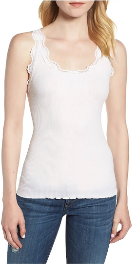 Basic Ribbed Lace Tank in Creme