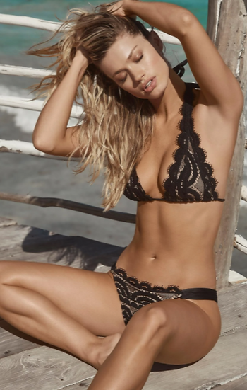 Black Lace Halter Bikini Top (Also Available in White)