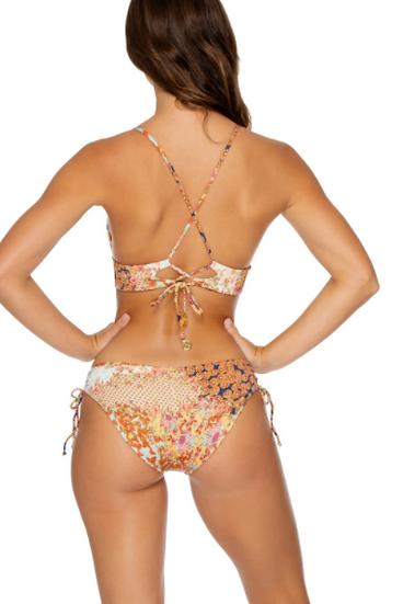Drawstring Ribbed Floral Full Bikini Bottom