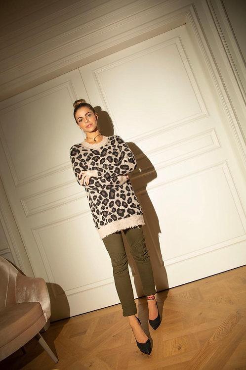 Blusa em tricot onça brown Tig marrom e off white