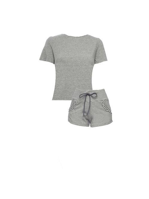 Conjunto short e blusa bordados moletom Aurora cinza Charth
