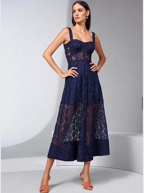 Vestido guipir decote azul Skazi Sclub