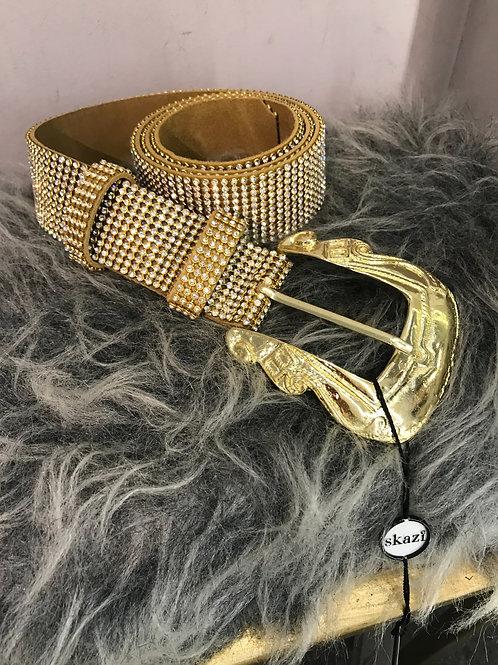Cinto Skazi  cravejado em cristais strass com fivela dourada
