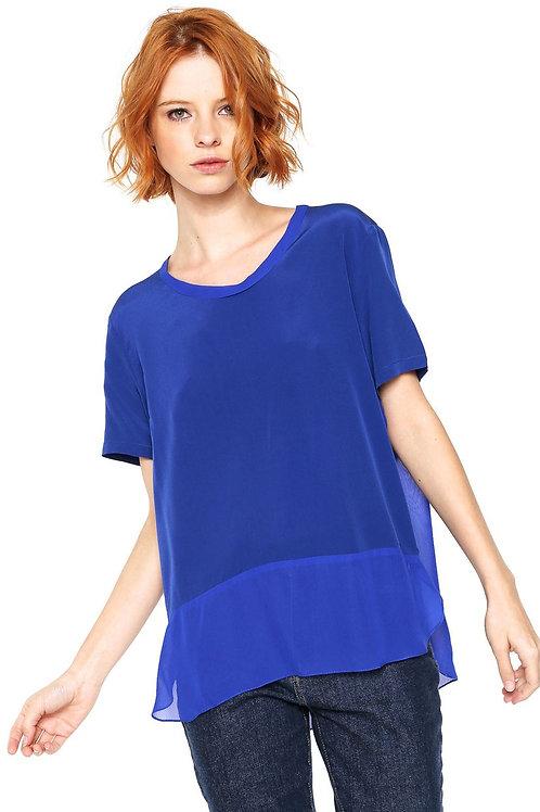 Blusa T-Shirt Mix Tecido Animale - Azul Marinho