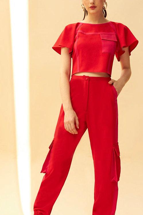 Conjunto de calça alfaiataria jogger e blusa bicolor vermelho e rosa Skazi Sclub