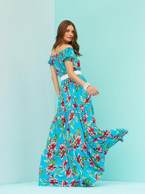 Vestido longo floral azul Skazi Sclub
